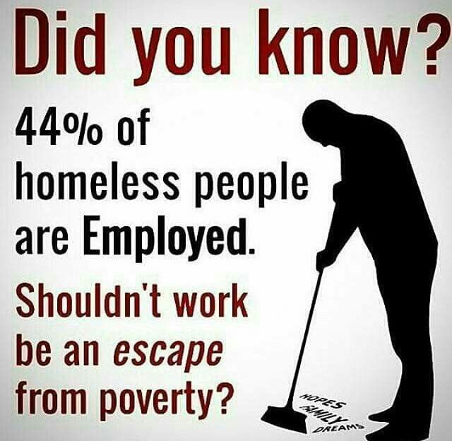 This is true my family member is homeless and works 38 hours per week thankfully some weekends one of the owners lets him sleep on the floor in the warehouse