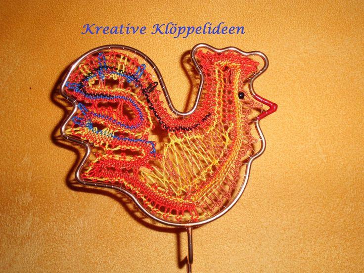 Osterdeko - Osterdeko geklöppelter Hahn im Rahmen klöppeln - ein Designerstück von Kreative-Kloeppelideen bei DaWanda