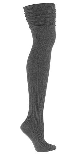 Sock It To Me OTK CHARCOAL GREY CABLE KNIT Womens Thigh High Socks $19.80