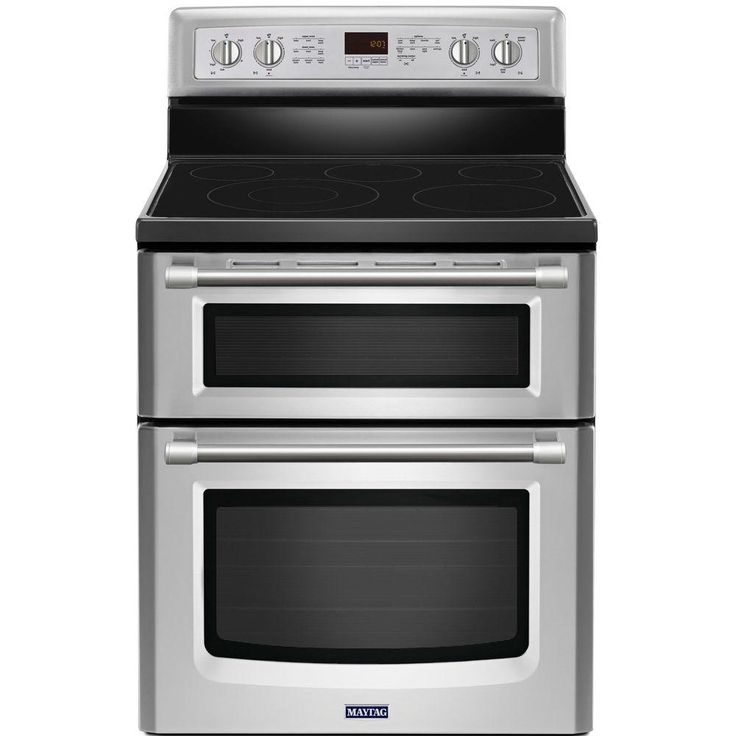 Maytag Gemini 6.7 cu. ft. Double Oven Electric Range with Self-Cleaning Convection Oven in Stainless Steel-MET8720DS - The Home Depot