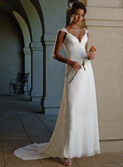 Empire col en v bretelle corsage en satin robe de mariée