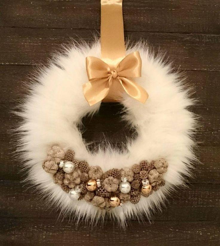 Karácsonyi szőrmés ajtó kopogtató! Christmas wreath! Fur!