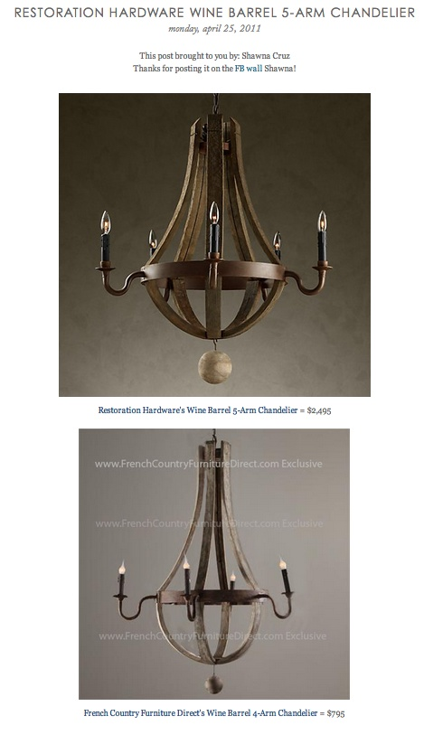 Copy Cat Chic Find Restoration Hardware 39 S Wine Barrel 5 Arm Chandelier Vs French Country
