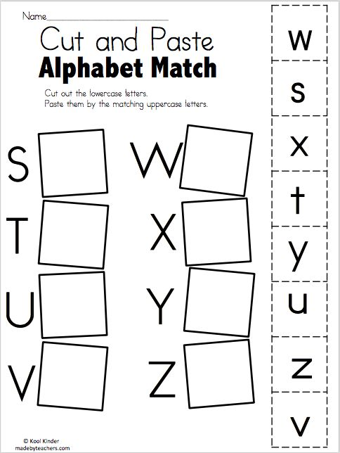 alphabet match s to z free worksheets kindergarten language arts preschool worksheets pre. Black Bedroom Furniture Sets. Home Design Ideas