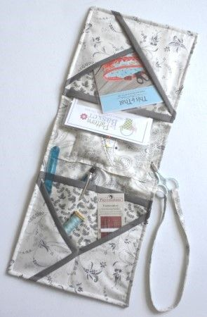 Nice and Easy Armchair Caddy to hold your sewing stuff.  Free pattern.