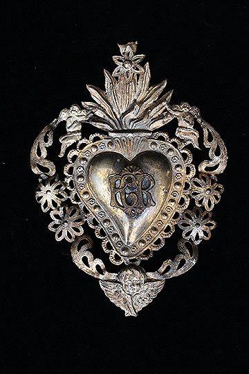 Italiana de plata antiguo Sagrado Corazón Ex-Voto con Querubines