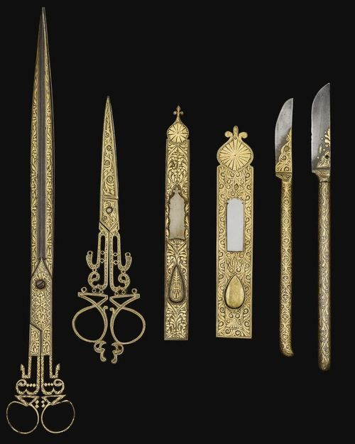 An Ottoman Set of Damascened Calligrapher's Tools - XIX century