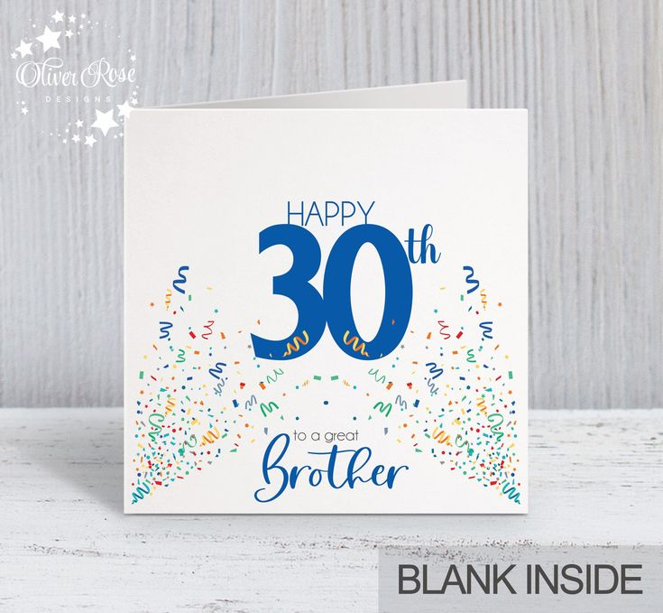 30th birthday card brother brother in law uncle son dad