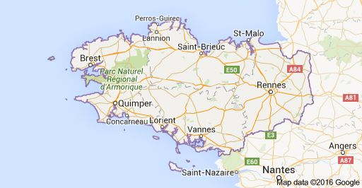 Map of Brittany, France. This is where the name Brittany came from. I have to visit.
