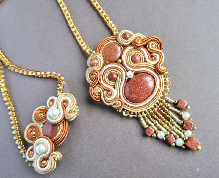 Soutache necklace, oriental with desert sand stone - Kwiat Pustyni 01 w VAKARAS Jewellery by Slomkad na DaWanda.com