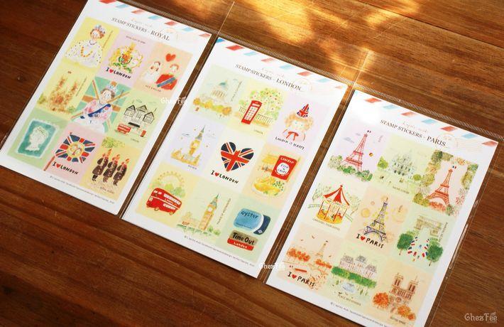 Autocollant décoration - vacance et voyage - Londres et Paris - 3 feuilles www.chezfee.com