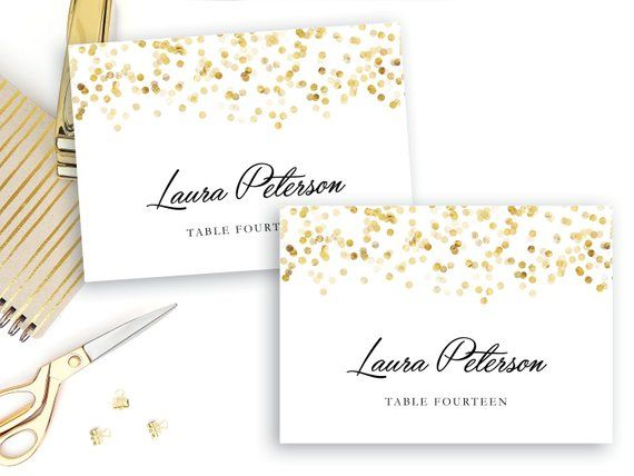 Place Card Template Gold Confetti Place Cards INSTANT DOWNLOAD