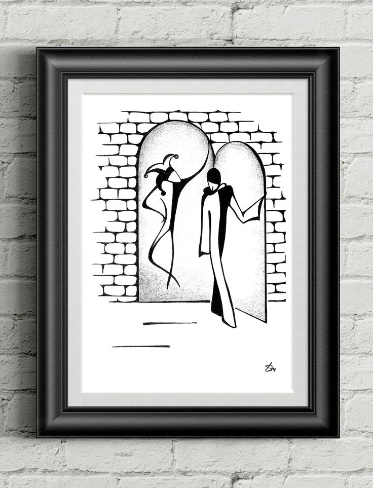 """""""Arleccino and Pierot"""" by Tayana Markovtsev 2013 18"""" x 24"""" India Ink on Cold Press Paper 1/1  #line #minimalism #drawing #artwork #original #gallery"""
