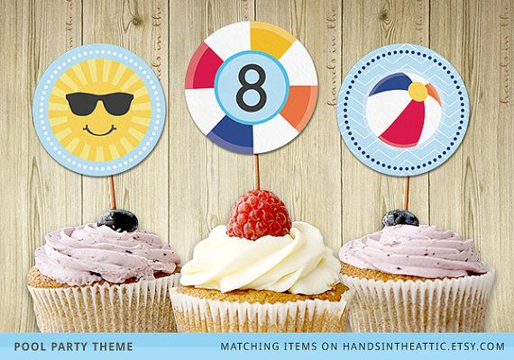 Pool party decor cupcake toppers cupcake wrapper summer party printable template swim party cupcakes round stickers instant download by HandsInTheAttic