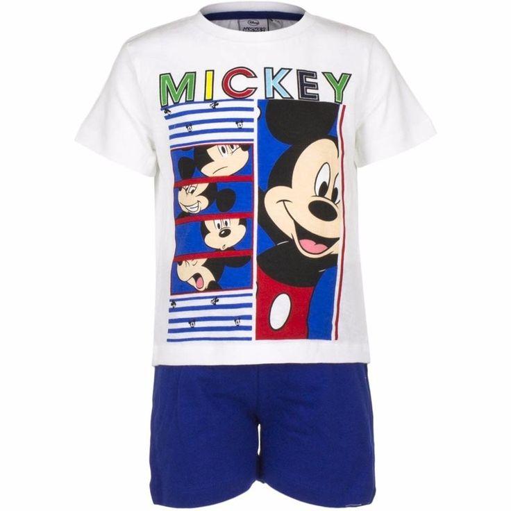 Shortama Mickey Mouse blauw  Mickey Mouse korte pyjama wit met blauw. Deze pyjama met korte blauwe broek en wit t-shirt heeft een opdruk van Disney Mickey Mouse. Materiaal: 100% katoen.  EUR 11.95  Meer informatie