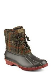Sperry Top-Sider Saltwater Plaid Duck Boots for Women in Brown STS95922