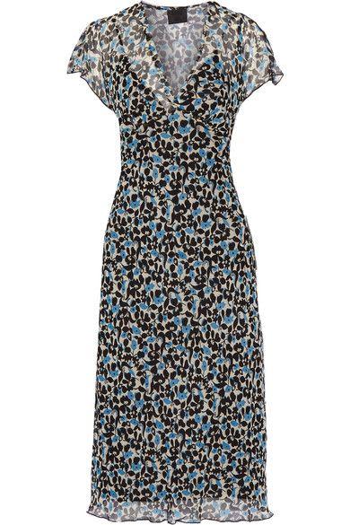 Anna Sui - Floral-print Crinkled Silk-chiffon Midi Dress - Black - US10
