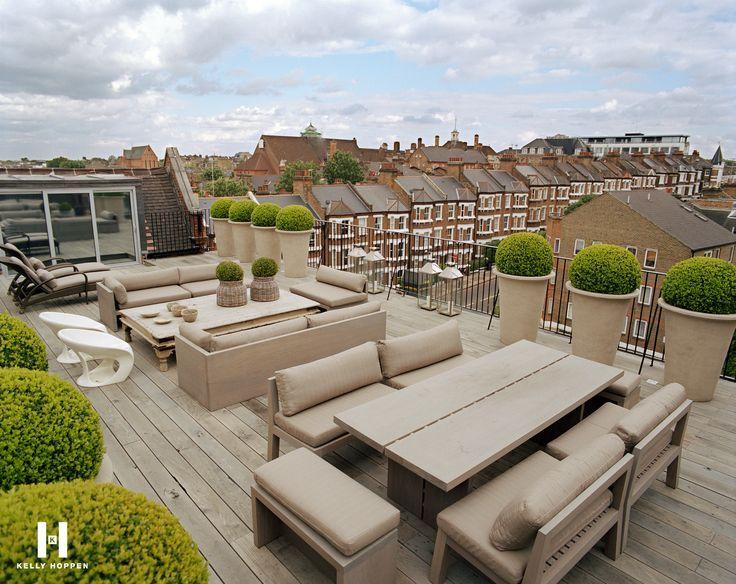 A modern rooftop terrace