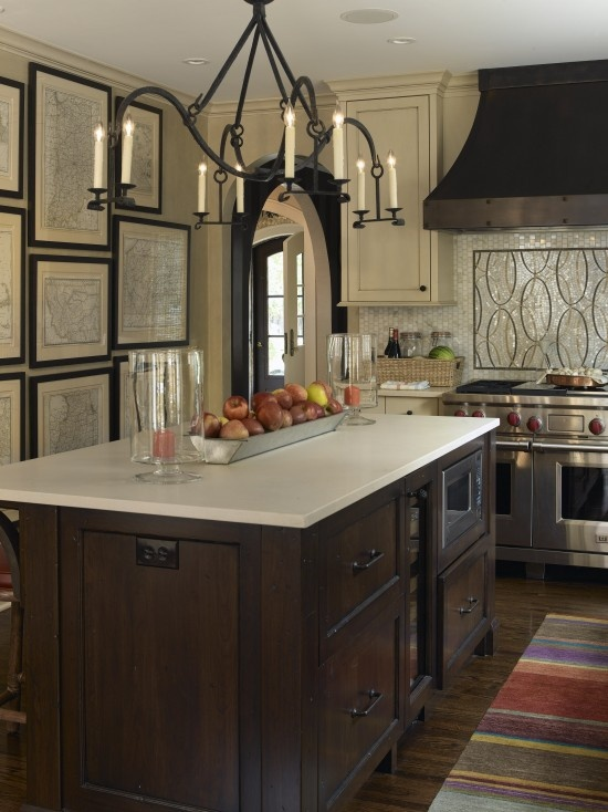 love the maps.Interior Design, Frames Maps, Antiques Maps, Lights Fixtures, Traditional Kitchens, Dark Cabinets, Vintage Maps, Interiors Design, Transitional Kitchen