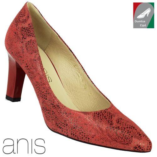 Anis női bőr cipő 4478 piros kombi