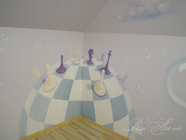 """Children's room at the cafe.Wall painting """"Alice in Wonderland"""".(fragment.).The chess."""