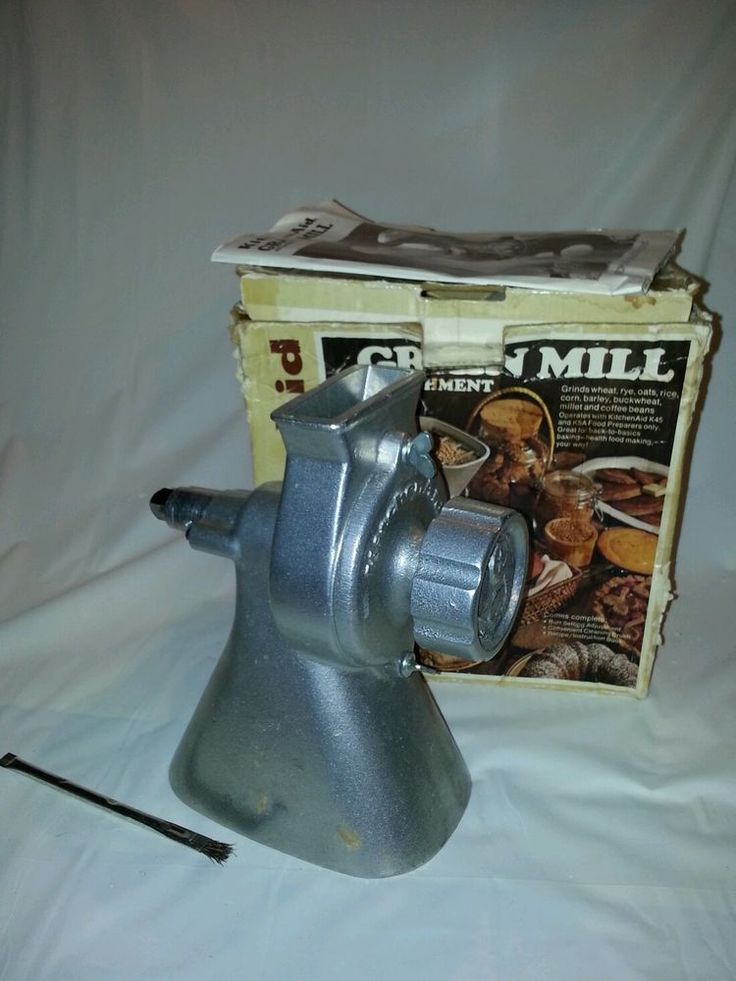 Vintage hobart kitchenaid model gm a grain mill attachment with brush booklet ebay - Grain mill attachment for kitchenaid mixer ...