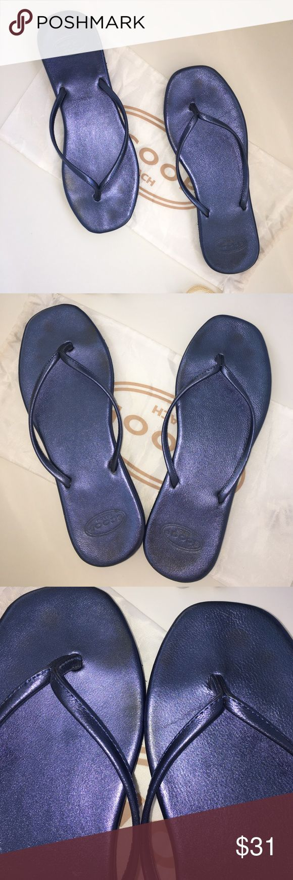 SCOOP Beach Denim Blue Metallic Flip Flops 7 Add just the right amount of sheen to your summer feet  with these Metallic blue flip flops from SCOOP Beach. Leather footbed and rubber sole. Very good condition.  Sole has minimal wear but foot bed has slightly darkened spots at toe and heel.  SCOOP drawstring bag included   Use for shoes or to bring along your sun tan lotion. SCOOP Beach  Shoes Sandals