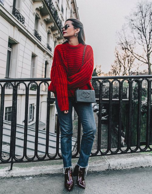 How to rock the red sweater and denim look.