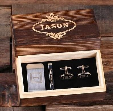 Custom cufflinks, money clip and tie clip set perfect for a groomsmen gift. Comes with a personalized wood box.