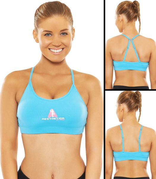 Premium Sports Bra - Blue  - Dual Strap - Removable Pads designed to give the perfect shape - Ultimate in performance & Comfort. Strong, Sexy yet Fashionable Gym wear!