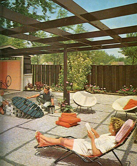 from a mid century landscaping book ranch house backyard - Mid Century Modern Landscape Design Ideas