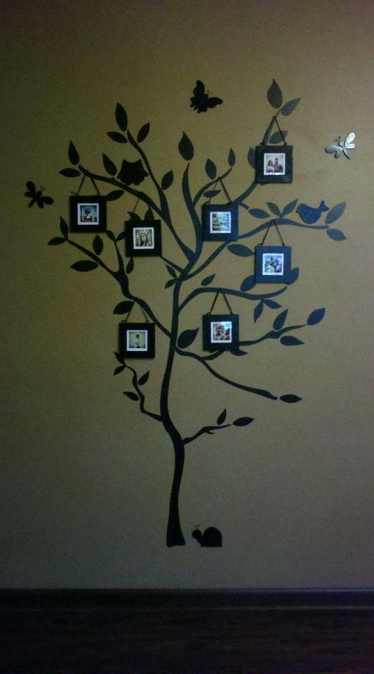 tree wall decal from target wooden cutout critters ribbon and square frames from walmart painted everything with black spray paint and put instagram