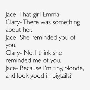 I would love to see Jace in pigtails.... Jace, Clary, Emma Carstairs, City of Heavenly Fire, The Mortal Instruments