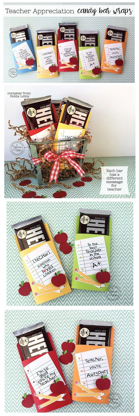 Sweets for the Teacher-Hershey Chocolate Bars all wrapped up in 5 different colors and 5 messages. Teacher Appreciation Gifts