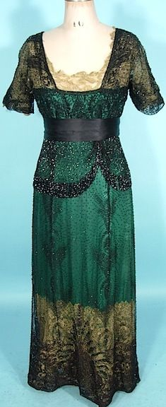 Edwardian gown, circa 1911, of green silk, gold lace and jet beads.  Perfect for your next Downton Abbey party.  Wear this gown with our antique Victorian emerald and diamond necklace, http://pinterest.com/pin/94223817174430421/.