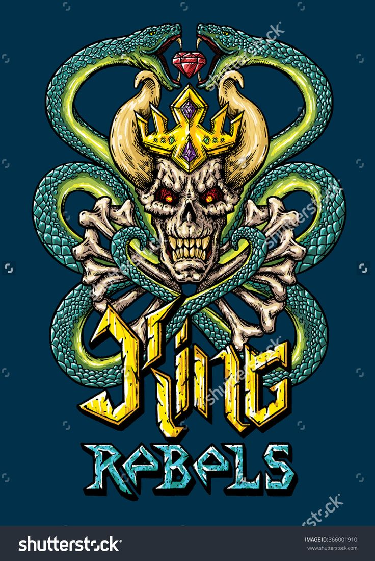 King rebels poster vector illustration. T-shirt design illustration. Draw King rebels, bones, skull, crown and snakes. Font illustration.