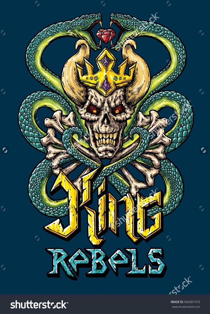 King rebels poster vector illustration. T-shirt design illustration. Draw King rebels, bones, skull, crown and snakes. Font illustration.