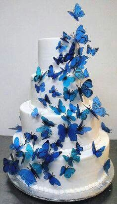 Blue Butterfly Wedding Cake.....   Like Cinderella's Shoes and dress!