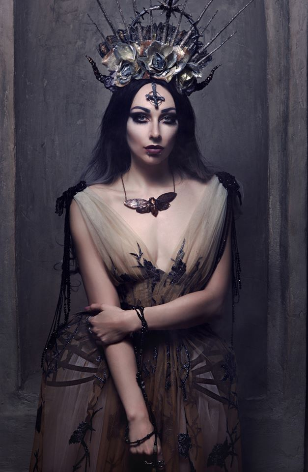 Haute Goth Fashion Corset Dress ~ Dark Beauty Gothic Couture Hip Fins Crinoline Corset ~ Gothic Glam Beaded Sheer Dress ~ Alice Corsets ~ Photo by Lena Berkas ~ Model, mua @Katrin Lanfire ~ Necklace cu.nature ~ Headpiece and rosarium mywitchery ~ Crinoline-dress @Alice Corsets