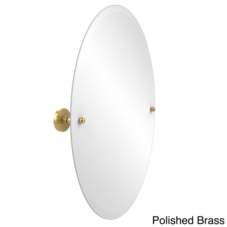 Image On  this frameless oval tilt wall mirror is the perfect addition to add balance With beveled edges and polished brass mounting hardware this mirror adds a