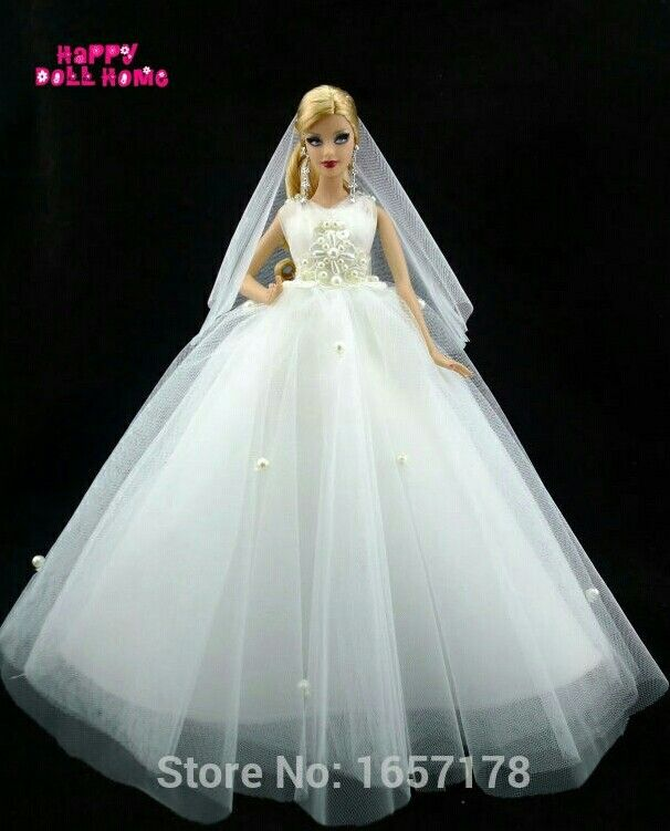 Directly From China Clothes Australia Suppliers Handmade Wedding Party Dress Bridal Veil Pure White Gown Beads Decoration Lace For Barbie Doll