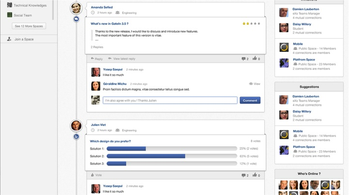 Space and People suggestions are very convenient in eXo Platform 4.0 Home Page. Stay connected and informed on everything that goes on in your Social Intranet - www.exoplatform.com