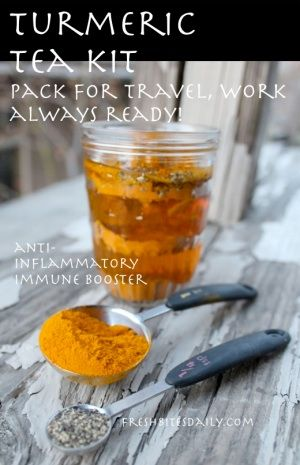 An anti-inflammatory turmeric tea, ready for your office, ready for the road...