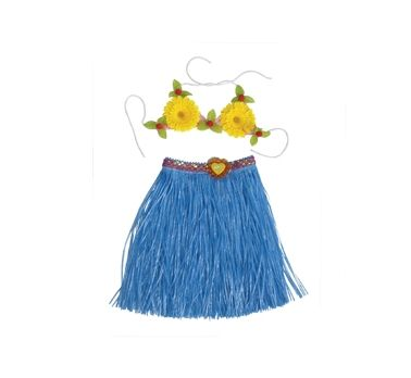 Komplet hawajski niebieska spódnica + biustonosz.W takim stroju zrobisz furorę na swojej imprezie :)