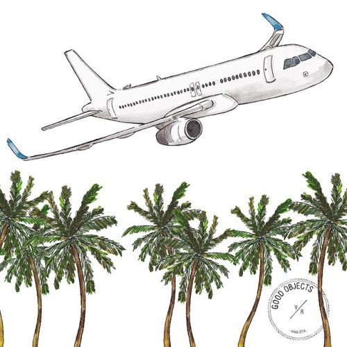 Good objects - ✈️ to the beach…!  #goodobjects #illustration #airplane #watercolor #palms