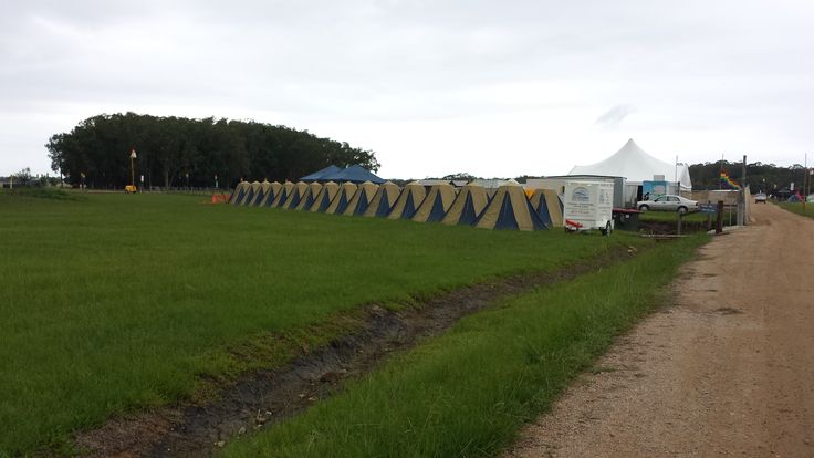 Tent Village by Byron Bay Camping Hire at Falls Festival Byron Bay 2014.  Ready and waiting for our guests to arrive.
