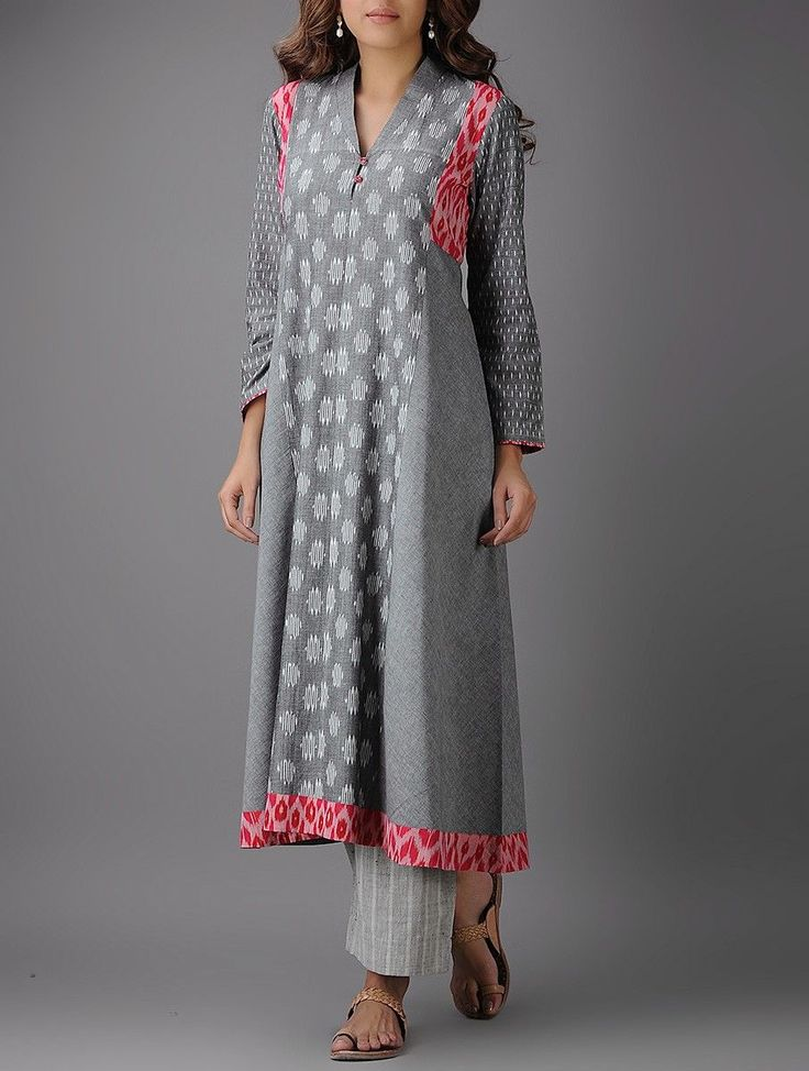Buy Grey Red Ivory Ikat Cotton Kurta Online at Jaypore.com