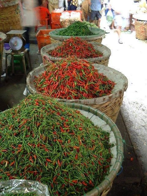Chillies at the Market, Bangkok, Thailand.