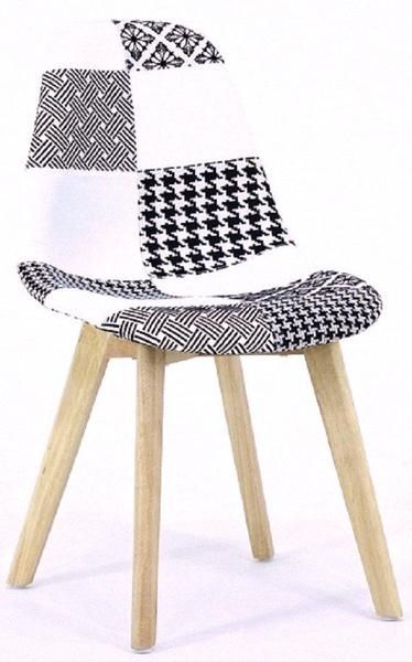 1 x Scandinavian Dining Table and 4 x Chrono Patchwork Scandinavian Chair Modern Living Room Dining Room Chair And Table
