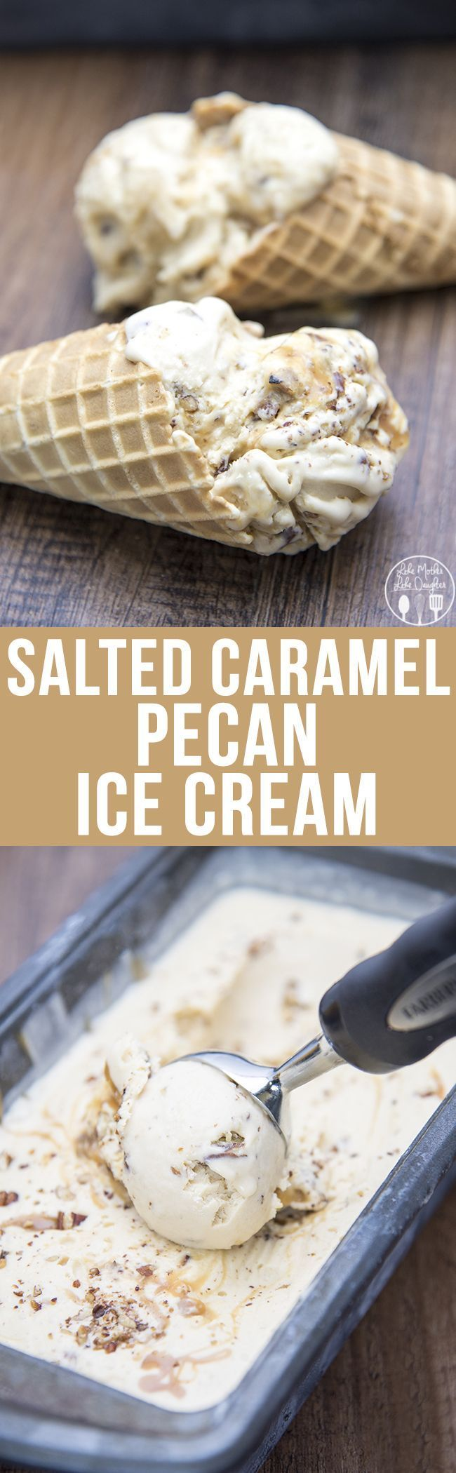 Salted Caramel Pecan Ice Cream - This Salted Caramel Pecan Ice Cream has a salted caramel custard base, swirled with salted caramel swirls and full of crunchy toasted pecans. I'd sub erythritol for sugar to reduce carbs.